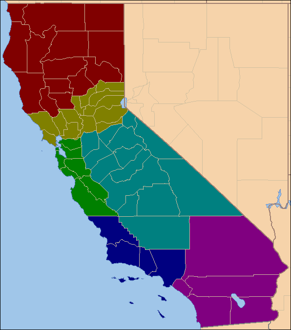 Six Californias - This is what the Golden State would look like gerrymandered for political gains.