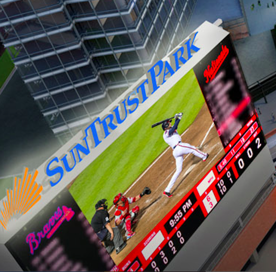 In their own rendering of Suntrust Park, Braves are losing 6-3 to the Nats and have committed an error.